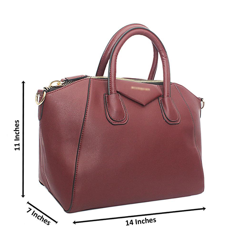 Wine Trapeziod Leather Handbag
