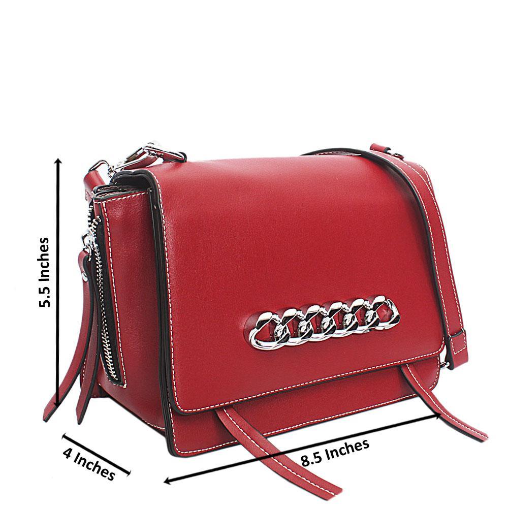 Wine Leather Mini Crossbody Bag