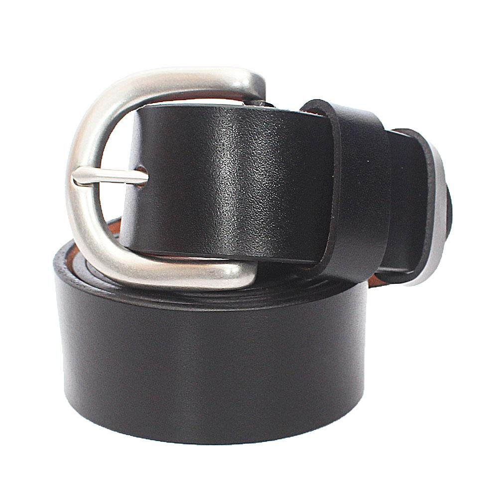 Black Plain Leather Belt L50