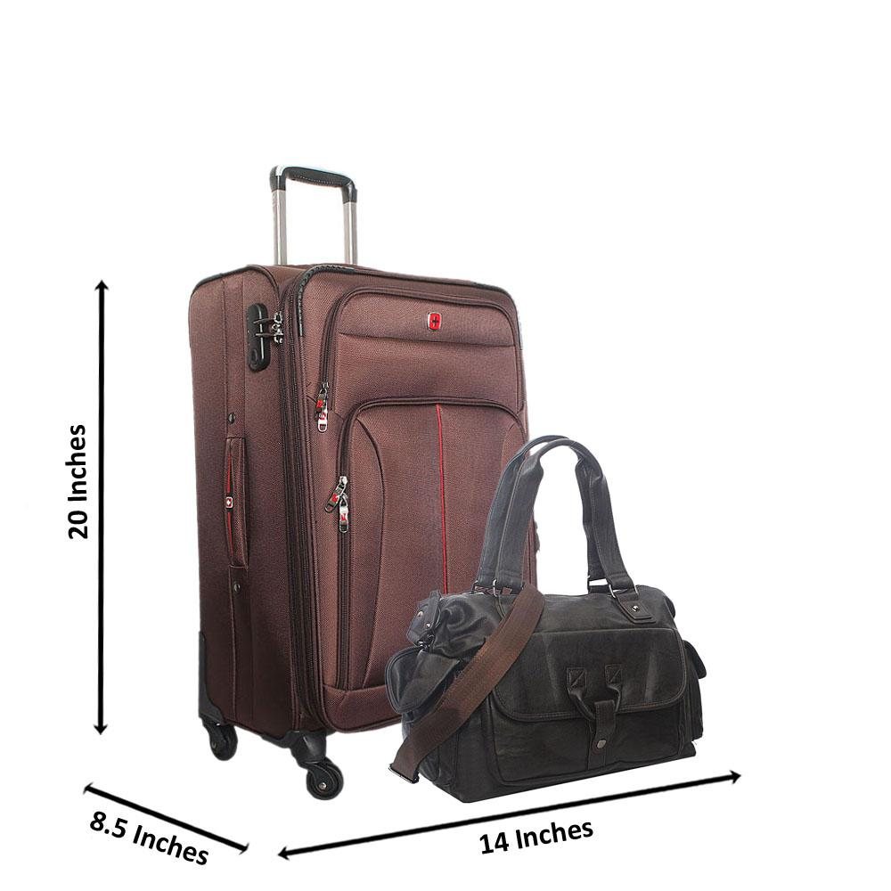 Saint Brown 20 Inch Fabric 4 Wheels Spinners Carry On Luggage wt FREE Bag
