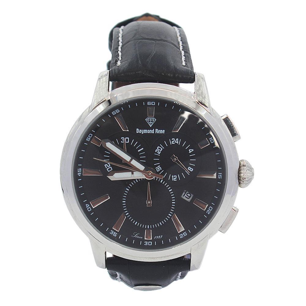 DR 5ATM Black Leather Pilot Watch