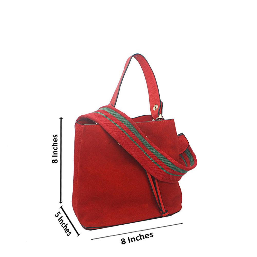 Red Suede Melrose Tandy Leather Mini Handbag