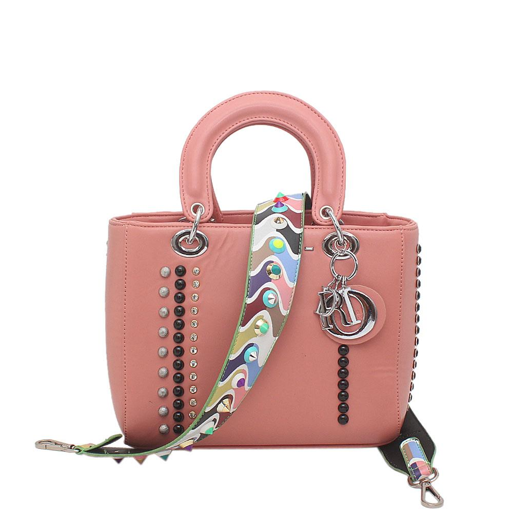Pink Leather Iconic Bag Wt Guitar Strap