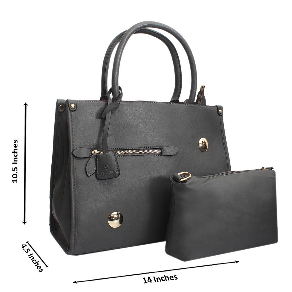 Grey Leather Medium Norah Handbag