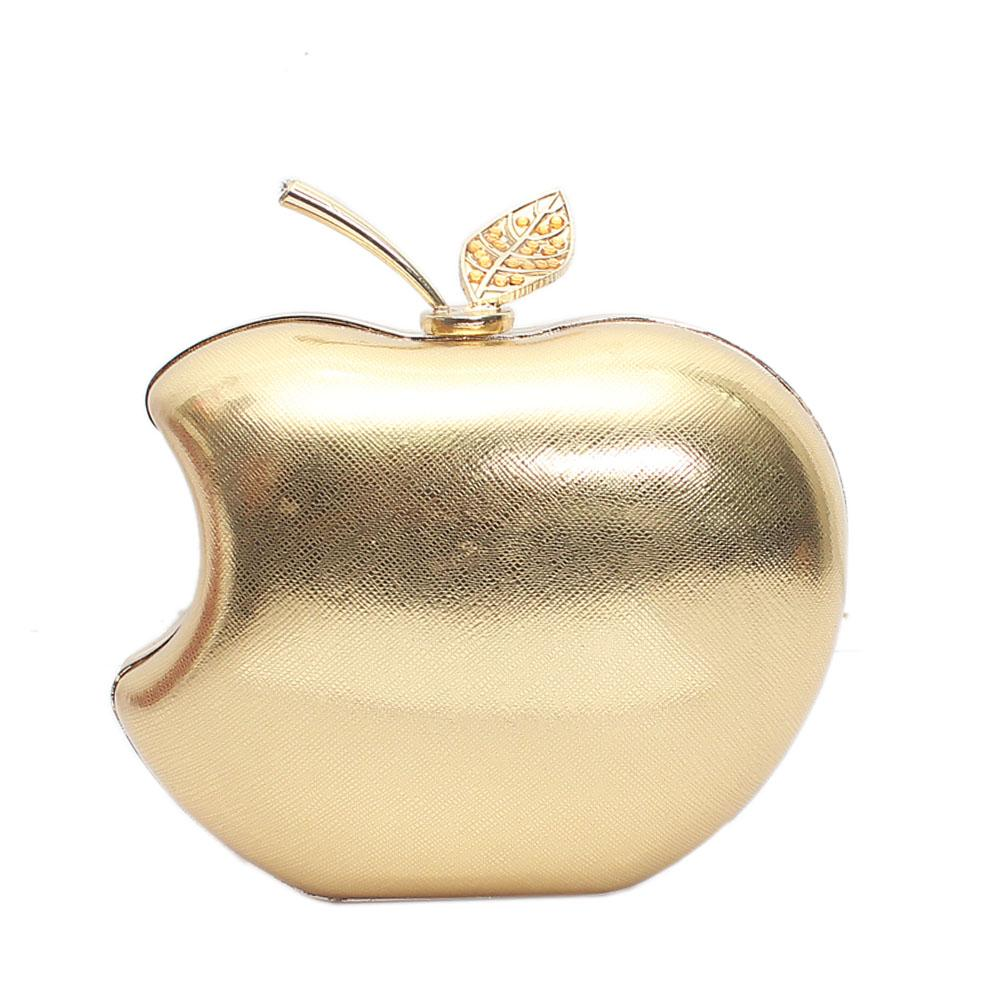 Gold Apple Style Hard Clutch Purse