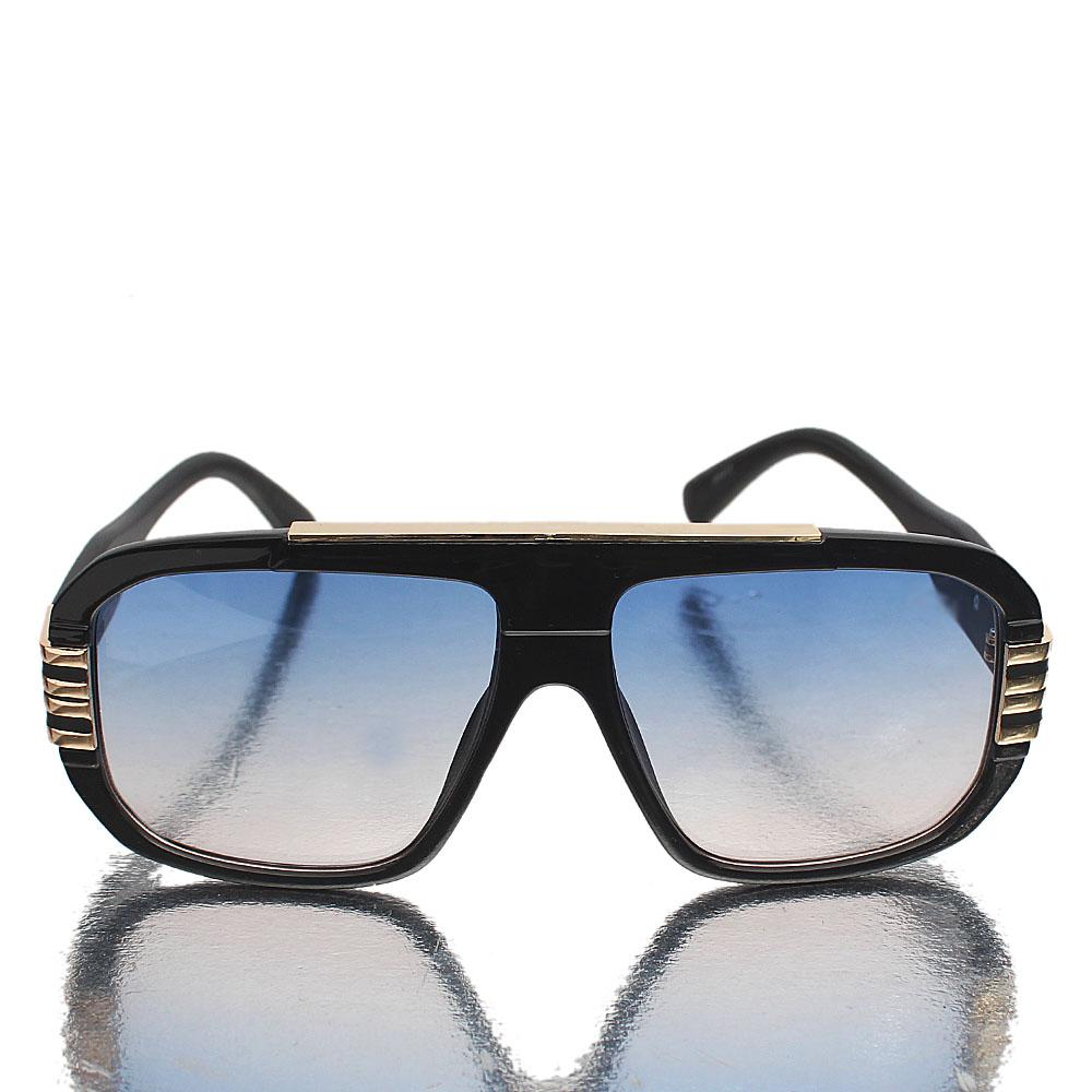 Gold Black Shield Blue Lens Sunglasses