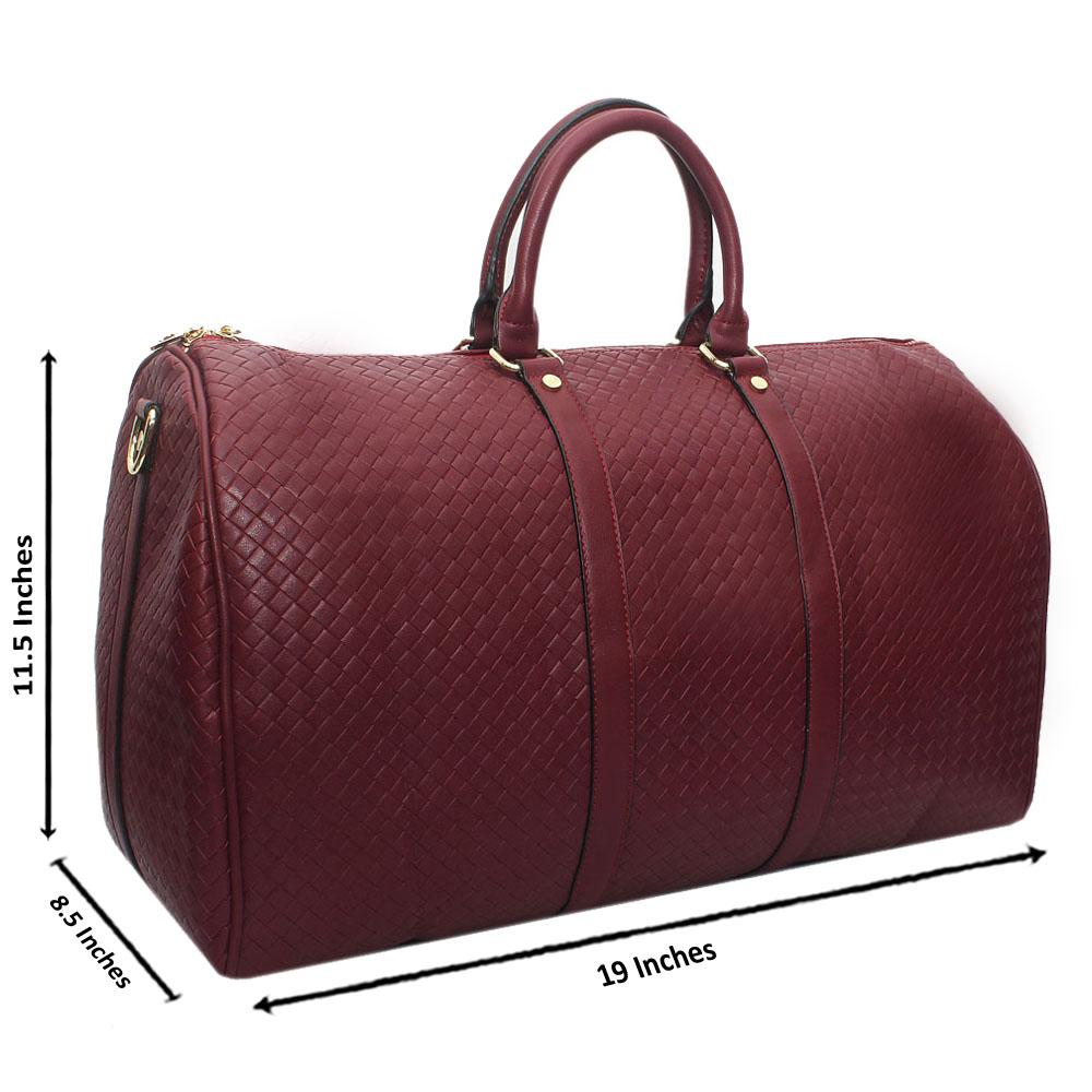 Wine Check Leather Large Boston Bag
