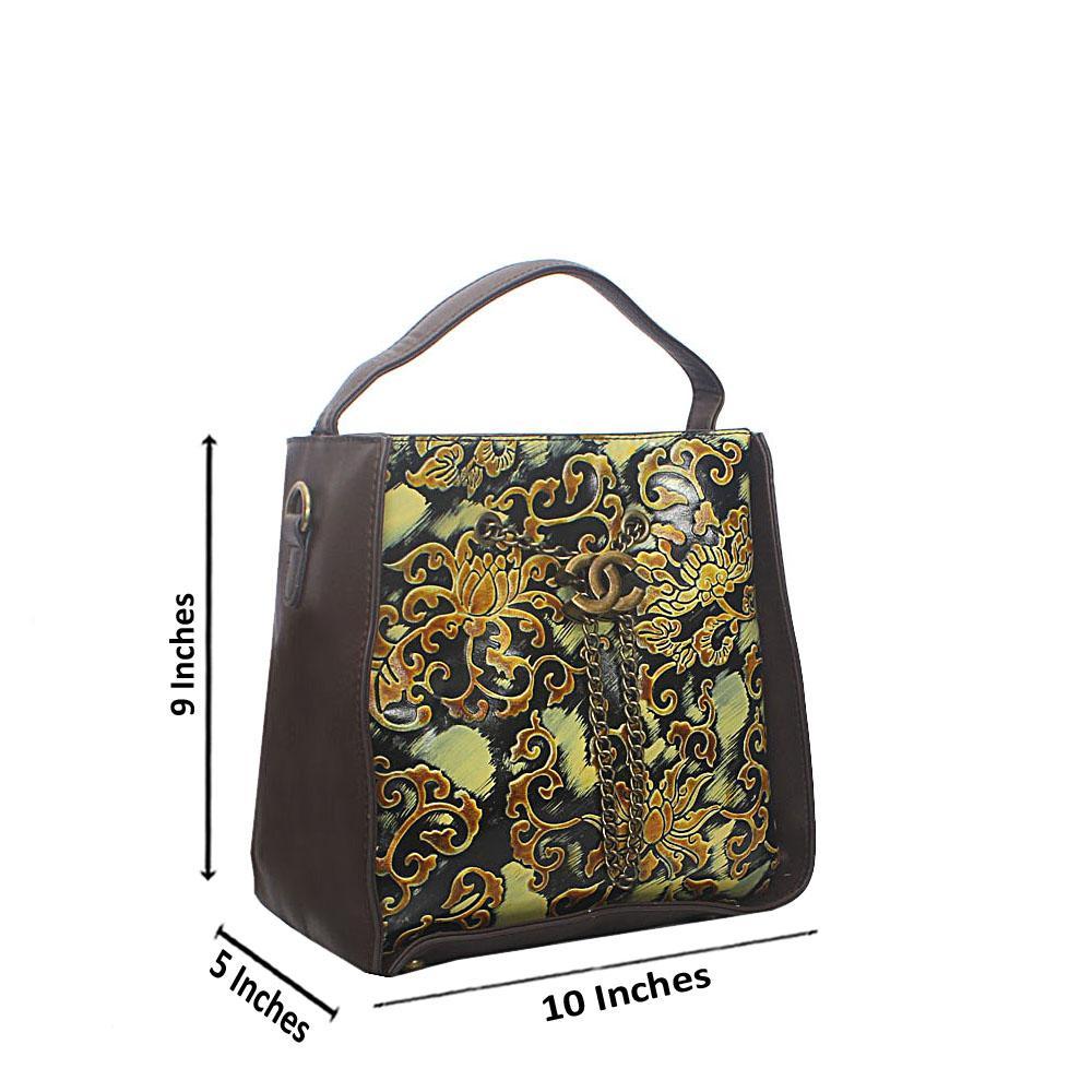 Coffee Graphic Print Tandy Leather Single Handle Bag