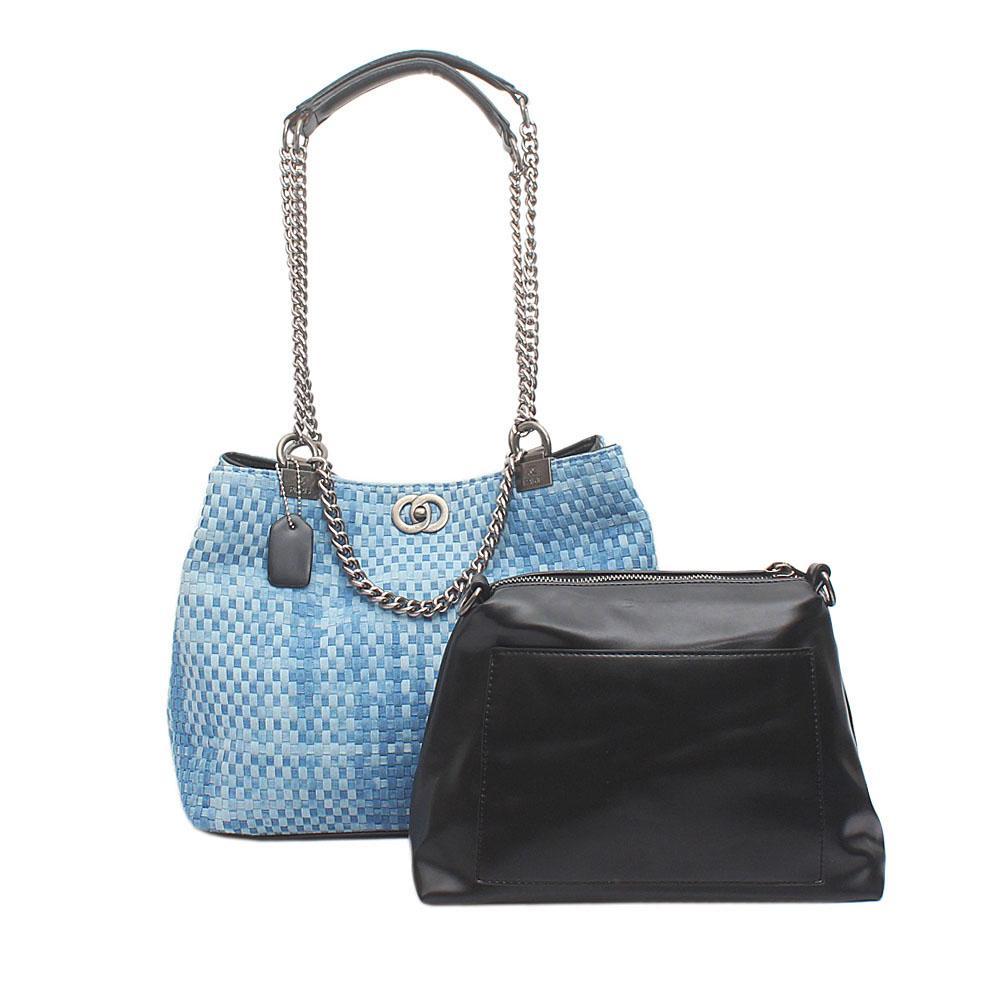 Sky Blue  Black Denim Leather Handbag