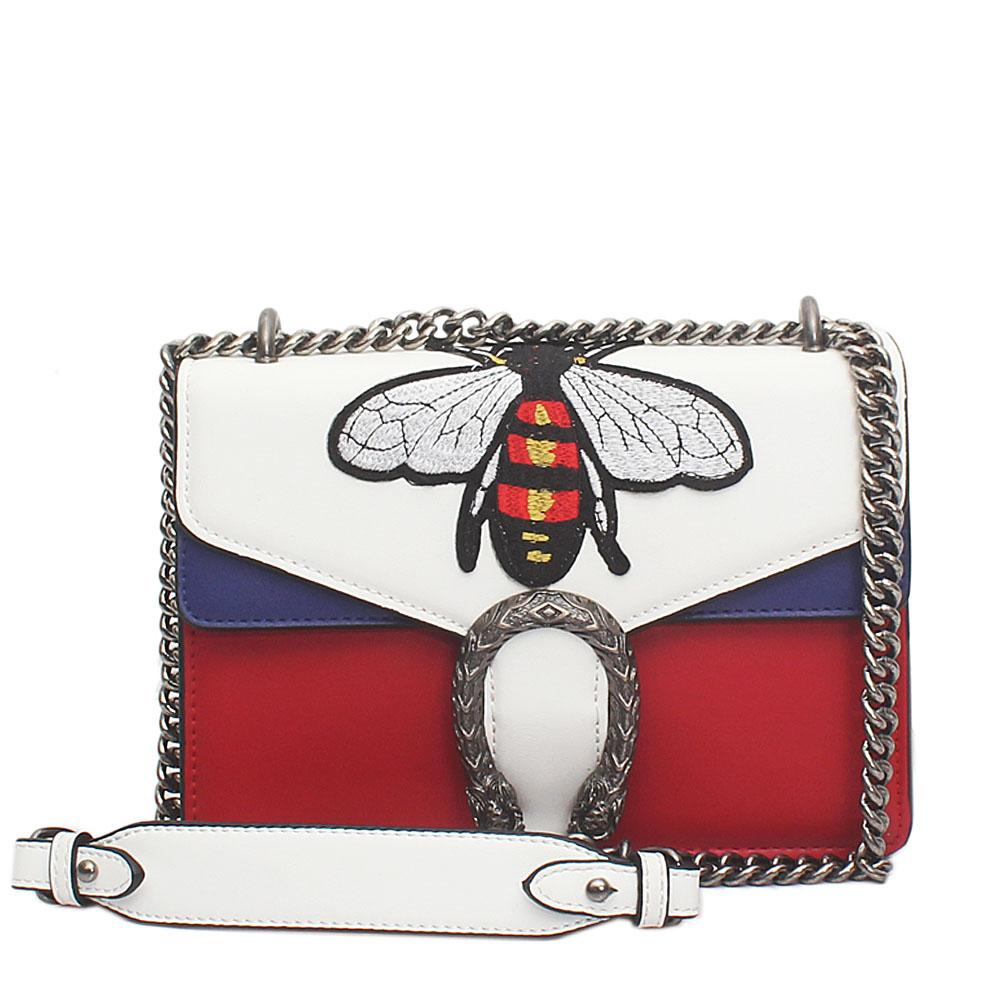 Lano White Red Blue Leather Dionysus Bag