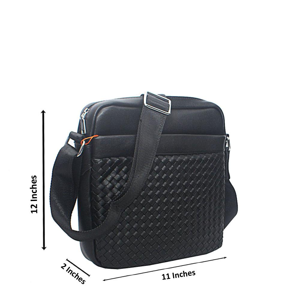 Black-Woven-Multi-Zip-Leather-Side-Man-Bag
