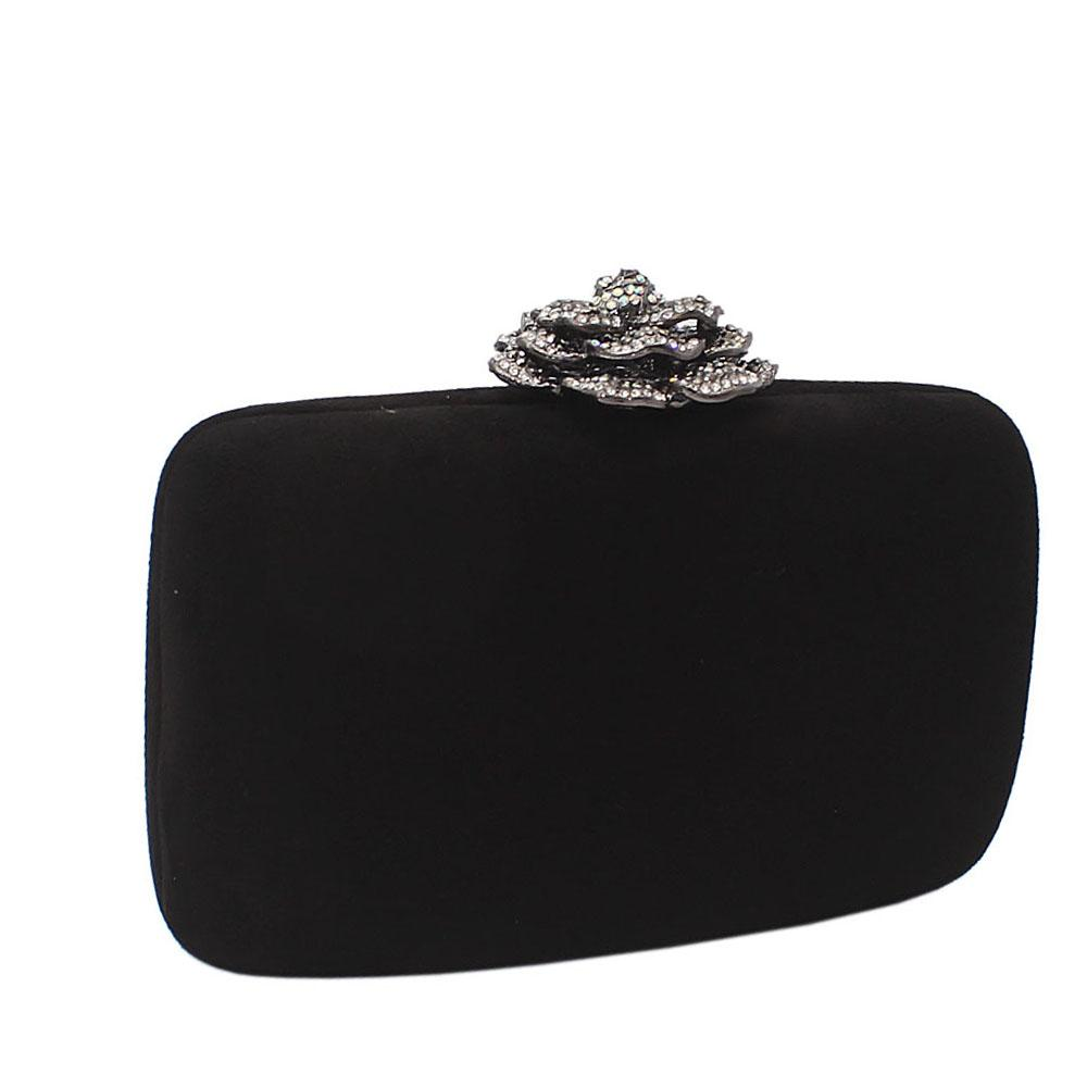 Black Suede Rose Studded Clutch Purse