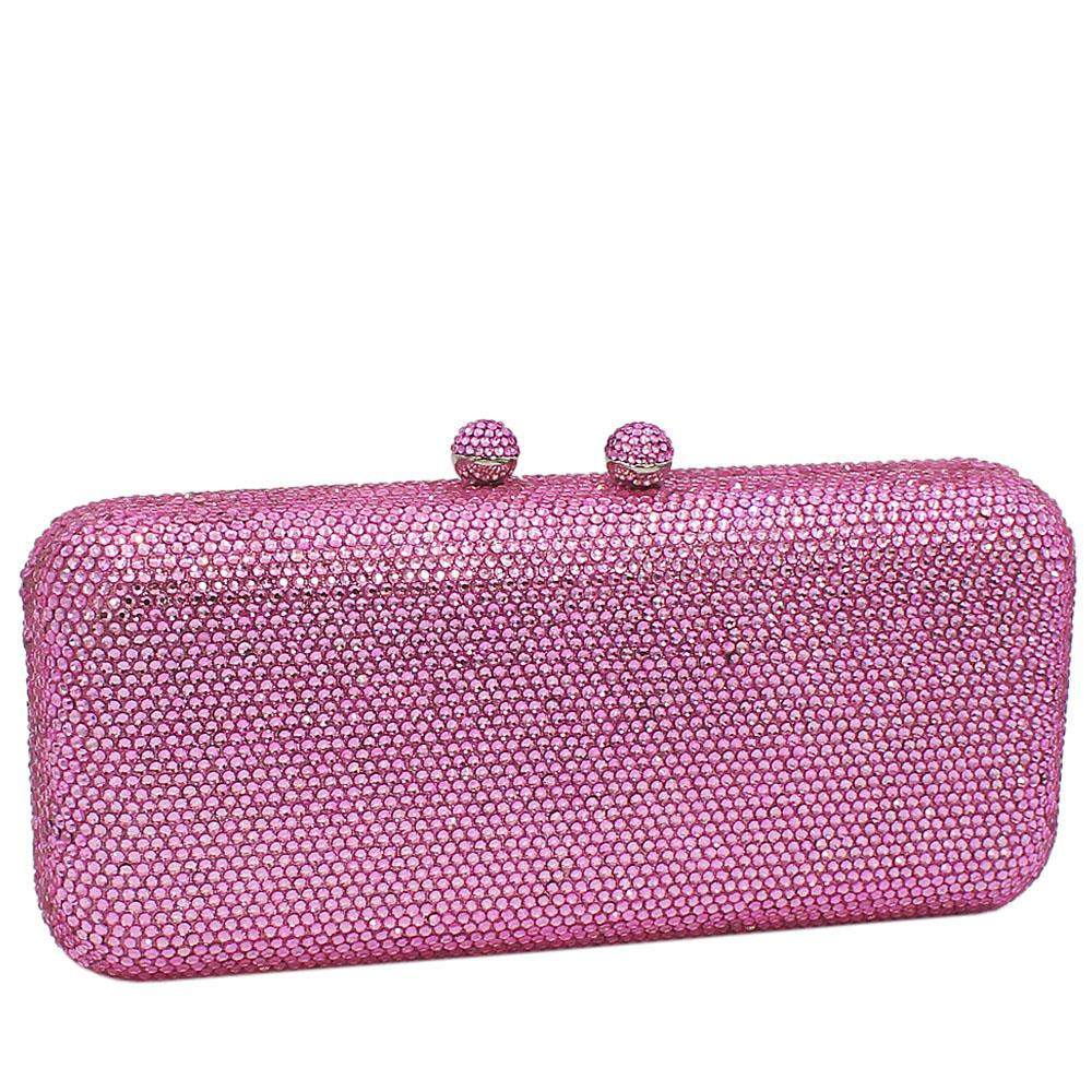 Baby Pink Crystals Studded Clutch Purse
