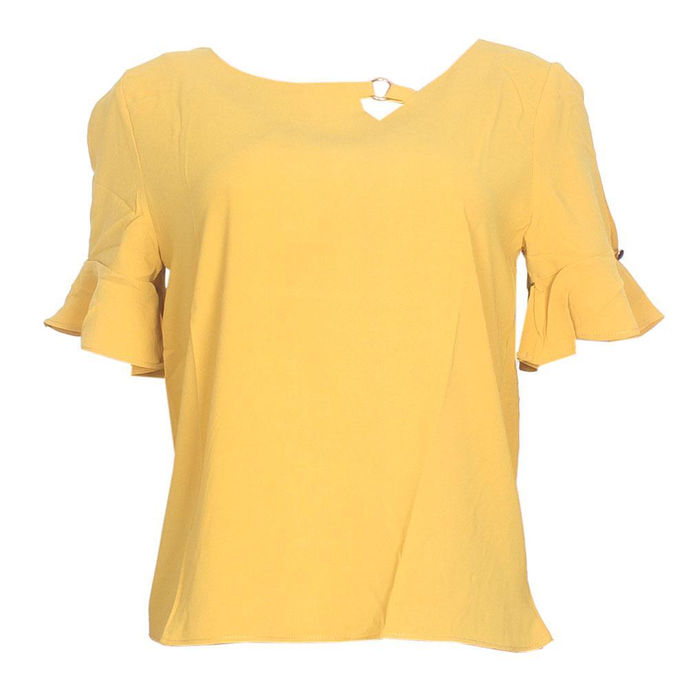 MXY Brownish Yellow Cotton S/Sleeve Ladies Top