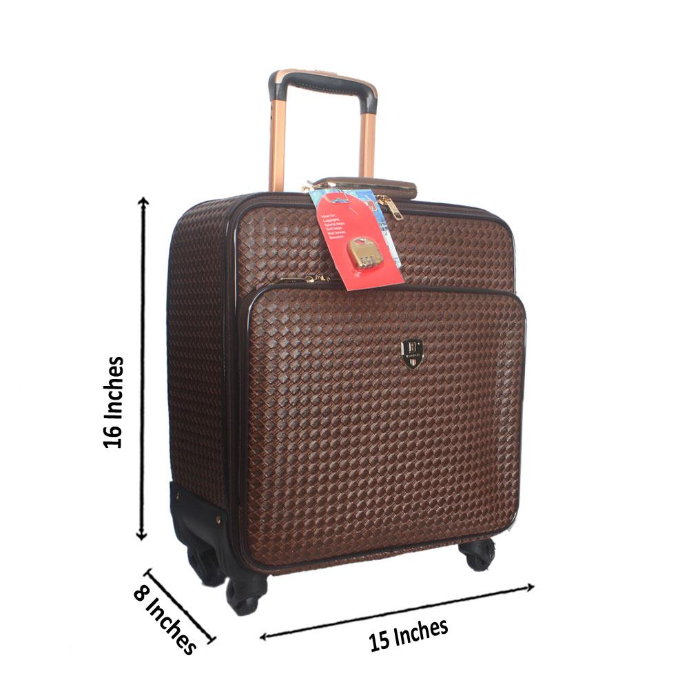 Brown Wooven Style Leather Pilot Suitcase Wt Lock