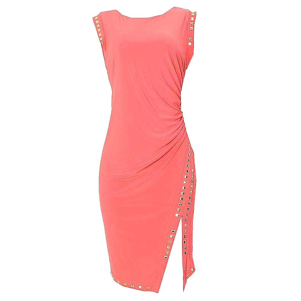 Belle Juene Peach Lycra Dress