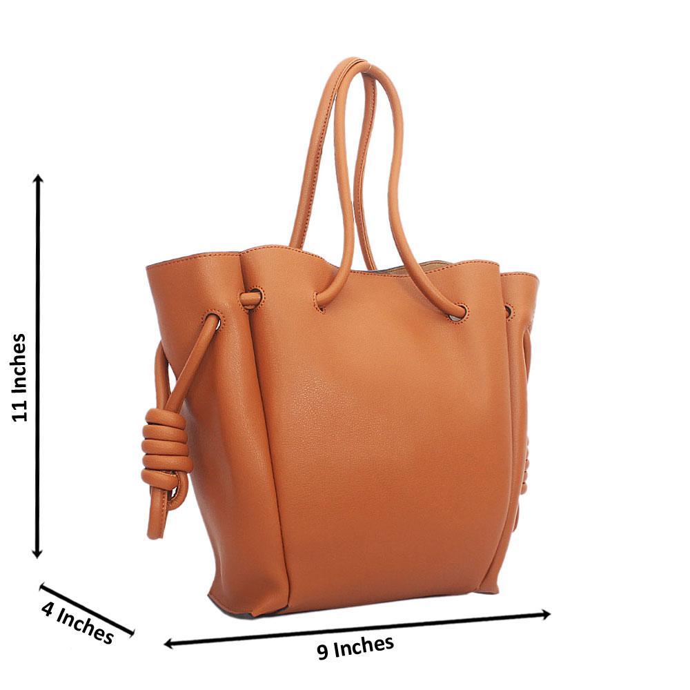 Brown Cowhide Leather Drawstring Shoulder Handbag