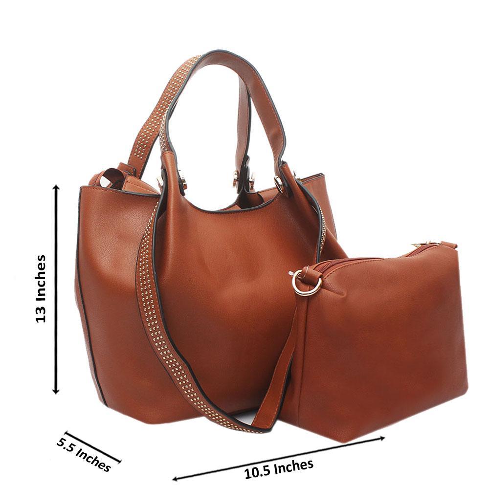 Brown Studded Leather Shoulder Bag