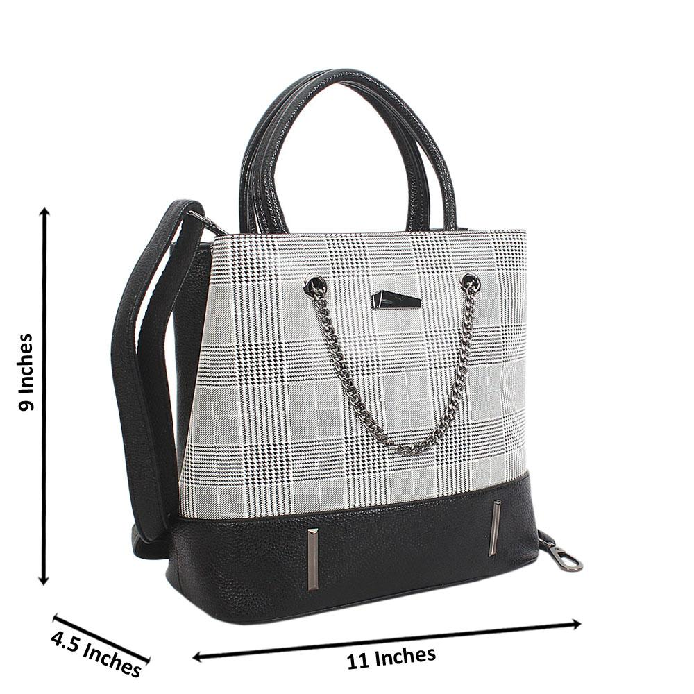 Black White Mix Nicole Leather Small Handbag