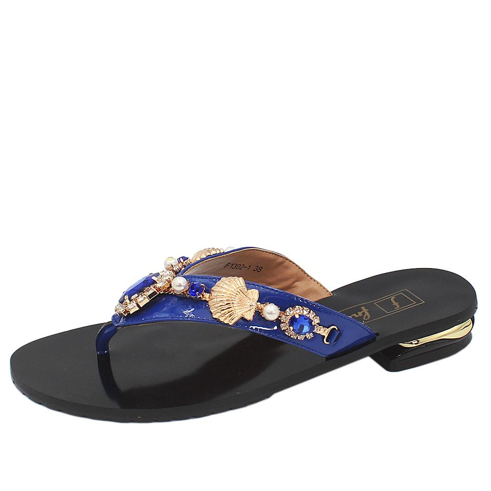 Black Blue Pearl Studded Leather Low Heel Ladies Slippers