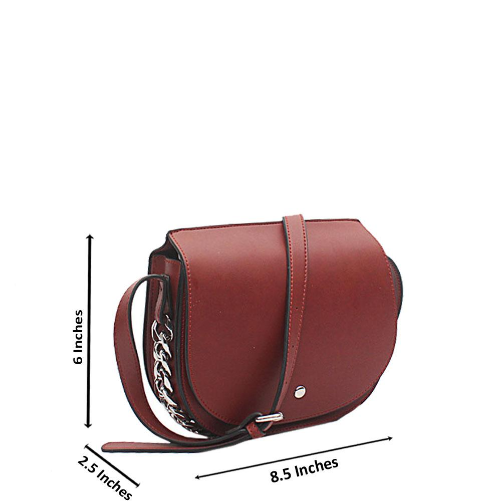 London Style Wine Leather Cross Body Bag