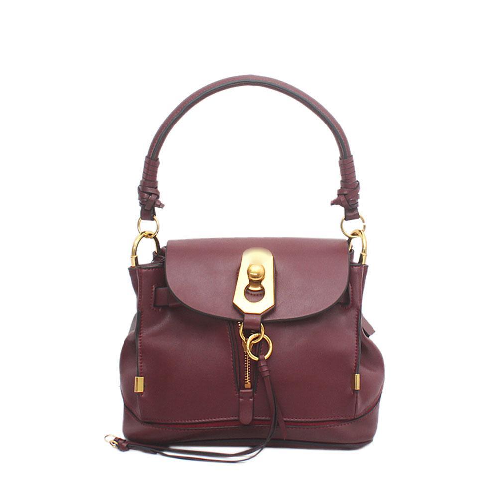 Wine Saffiano Leather Owen Bag Wt Flap