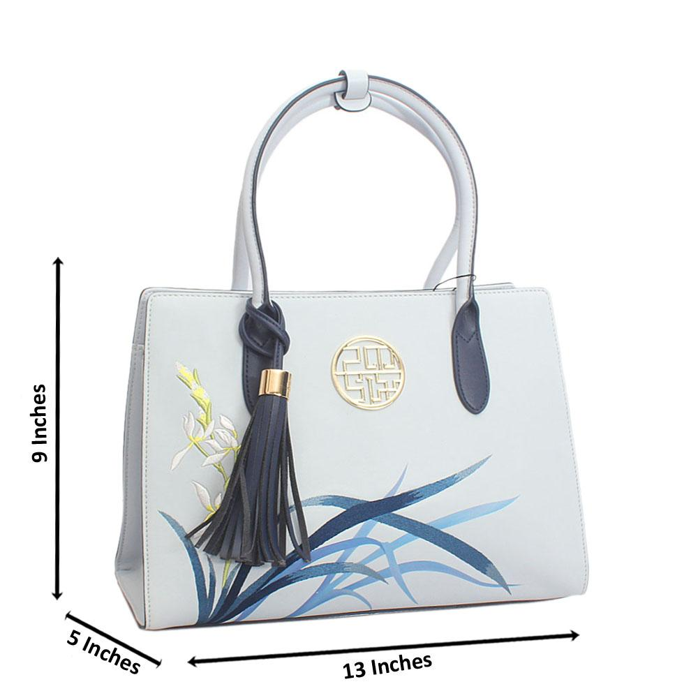 Cute Aqua Blue Spring Style Median Saffiano Leather Handbag