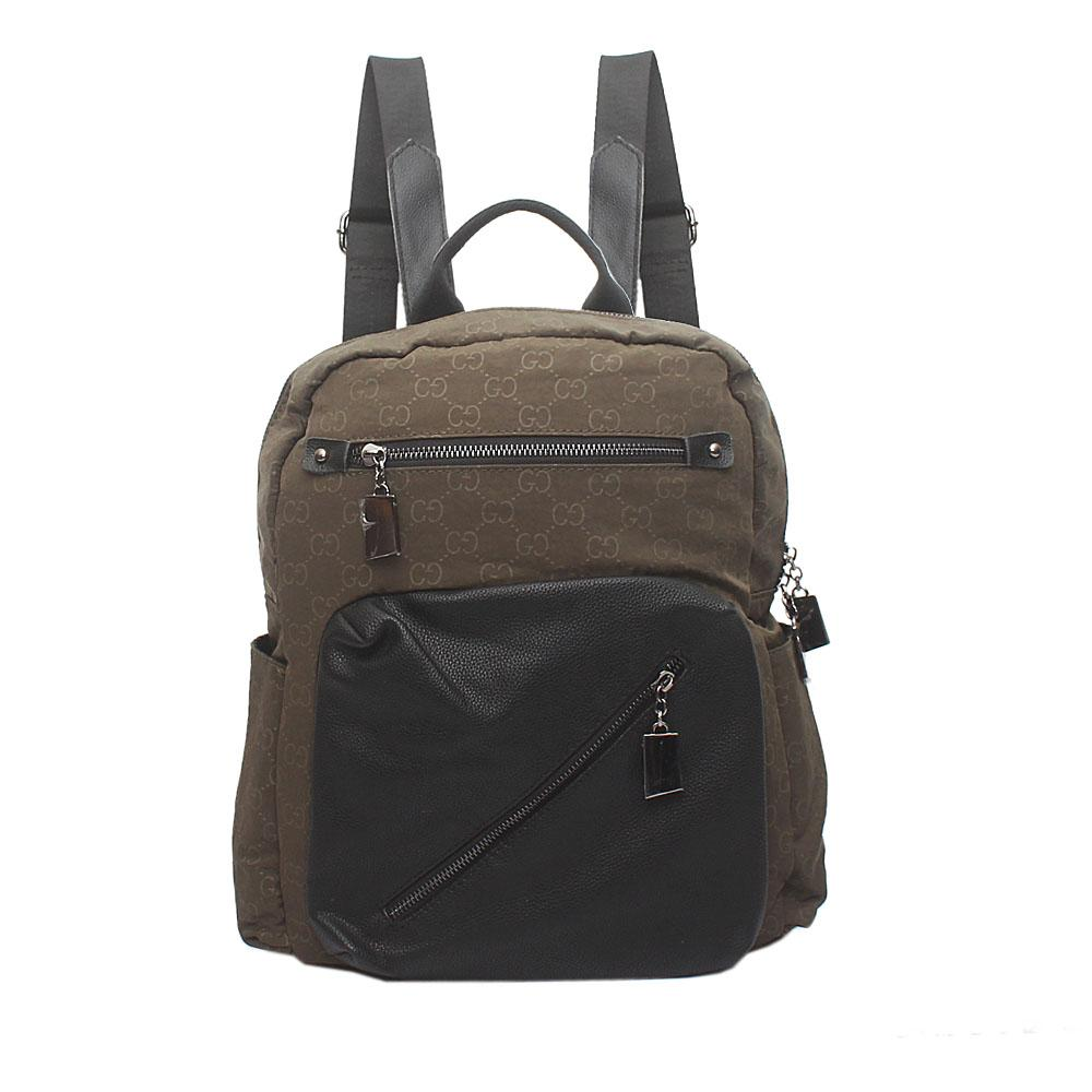 Green Black Leather Back Pack Bag