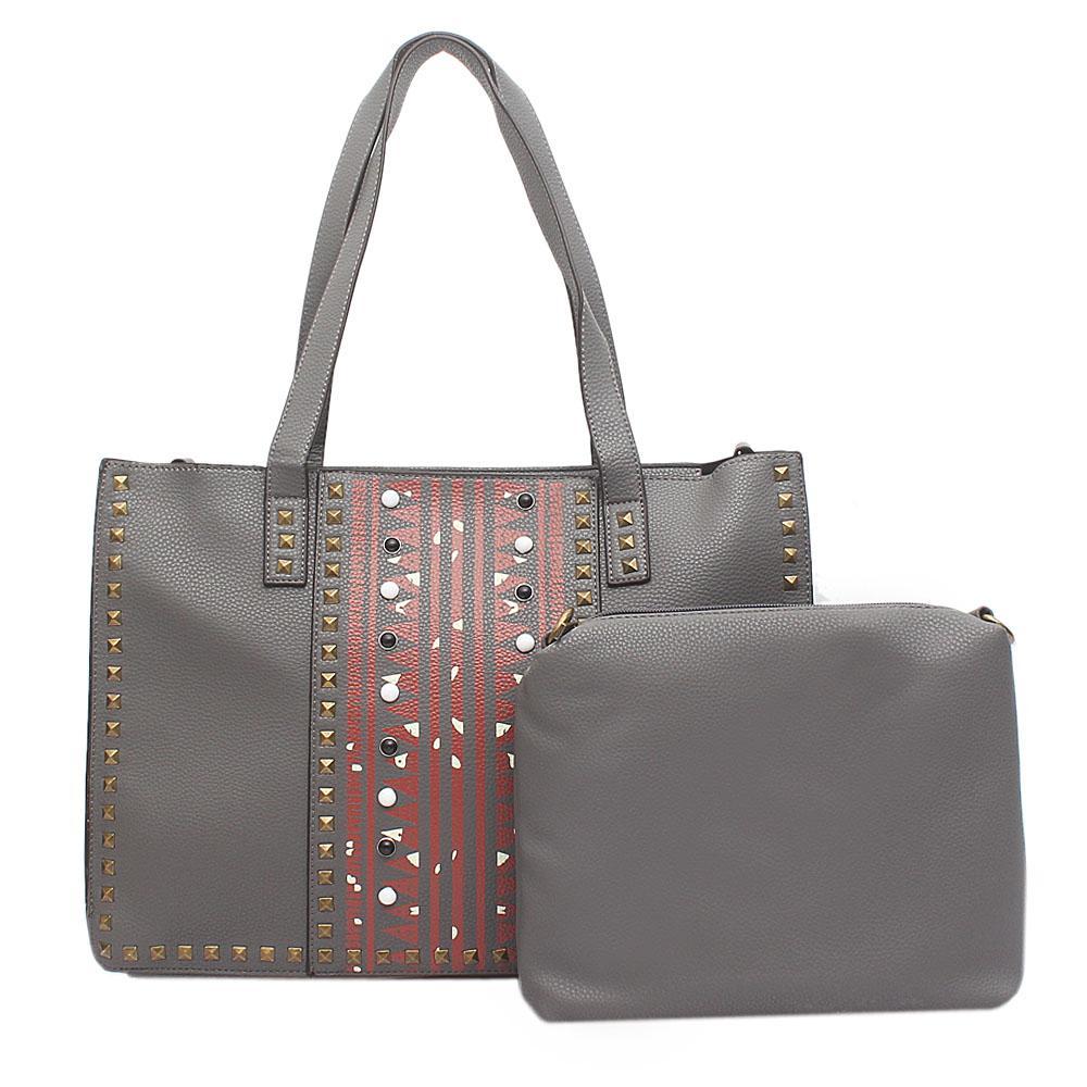 London Style Grey Leather Studded Handbag Wt Purse