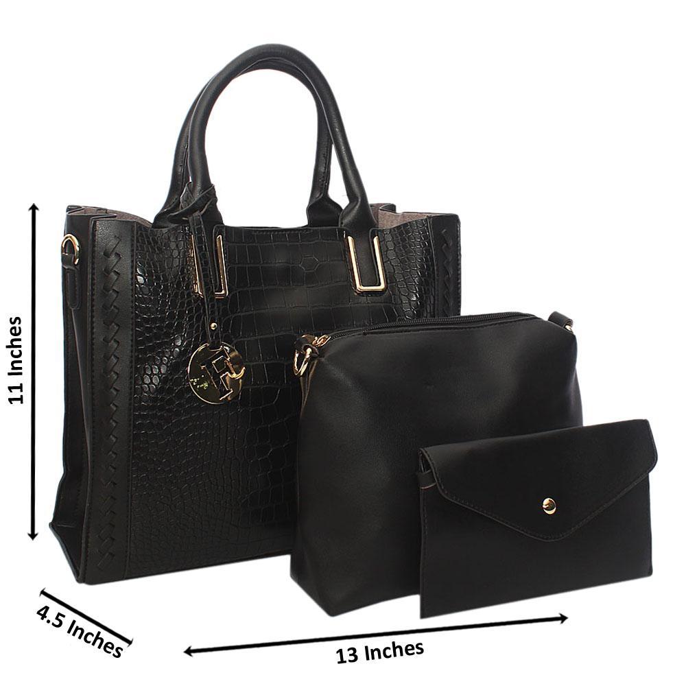 Black Serena Woven Croc Leather 3 in 1 Tote Handbag