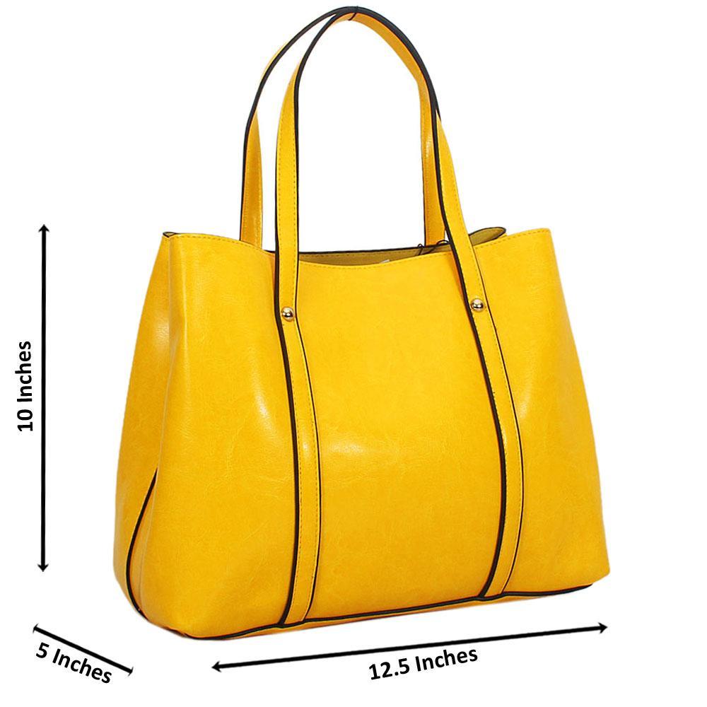 Yellow Bella Smooth Leather Tote Handbag