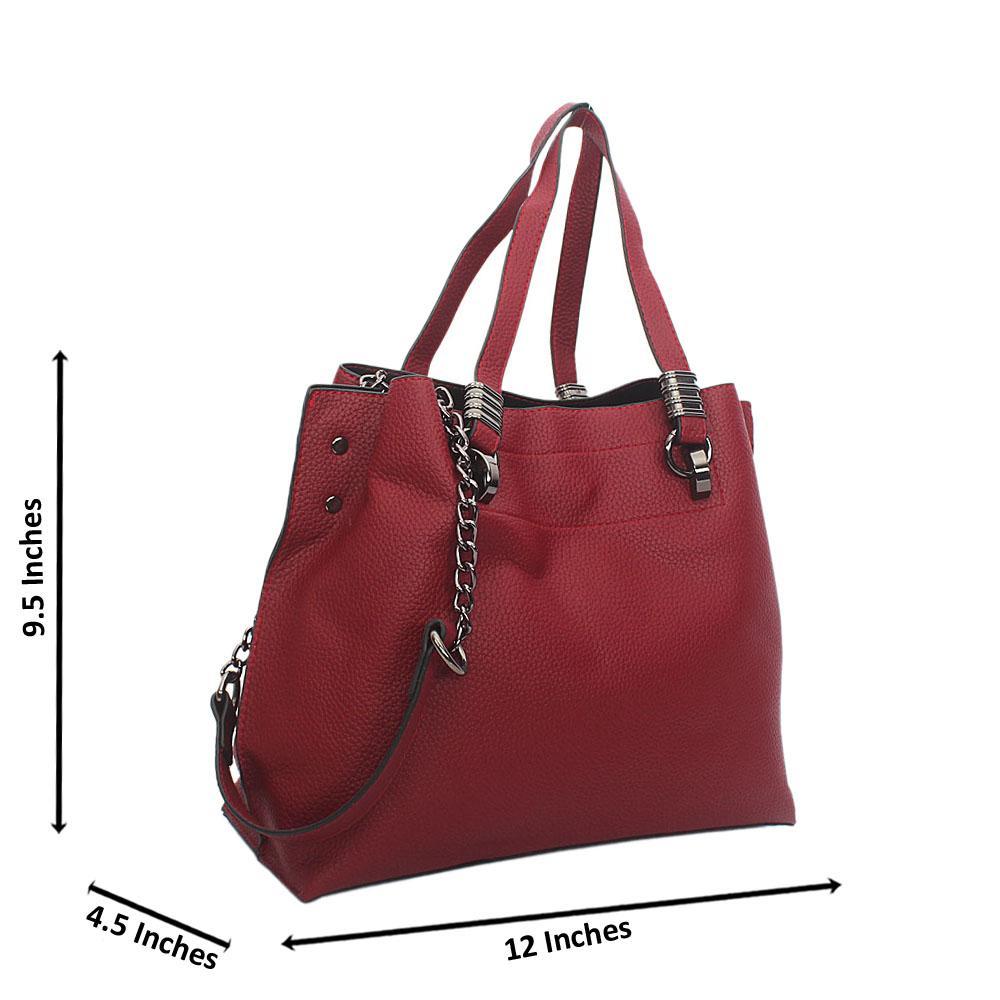 Wine Ella Leather Medium Tote Handbag