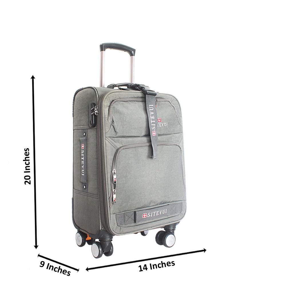 Gray Rugged 20 Inch Fabric 4 Wheels Spinners Carry on Luggage