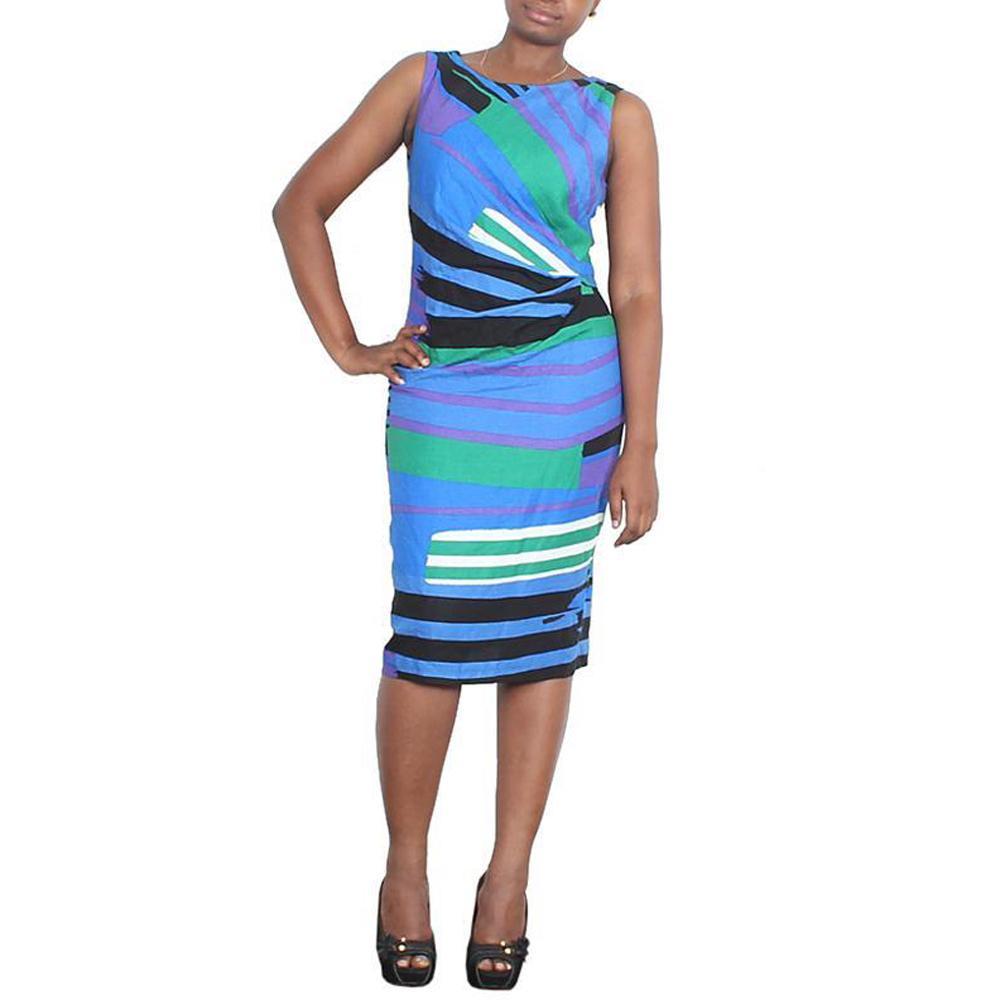 M&S Peruna Blue/Green Multi Cotton Armless Ladies Dress-Uk 12