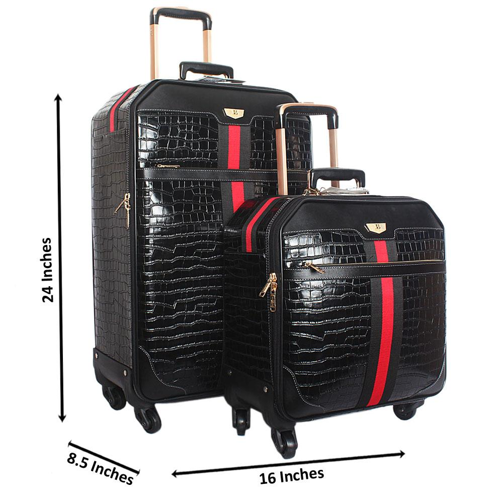 Black Croc Leather 24 inch Suitcase wt 14 Inch Pilot Suitcase Set