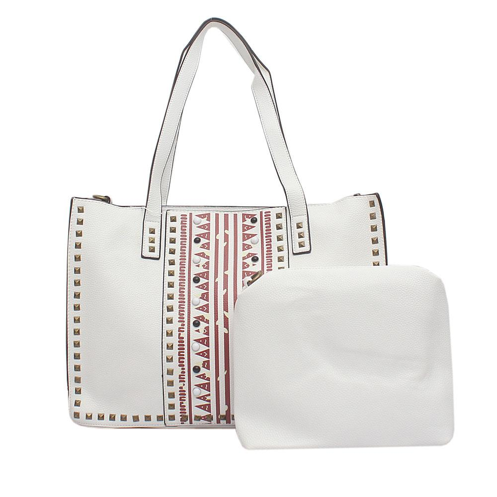 Evogue White Leather Studded Handbag Wt Purse