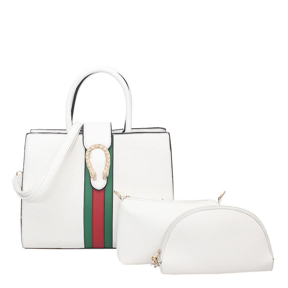 White Leather 3 in 1 Bag