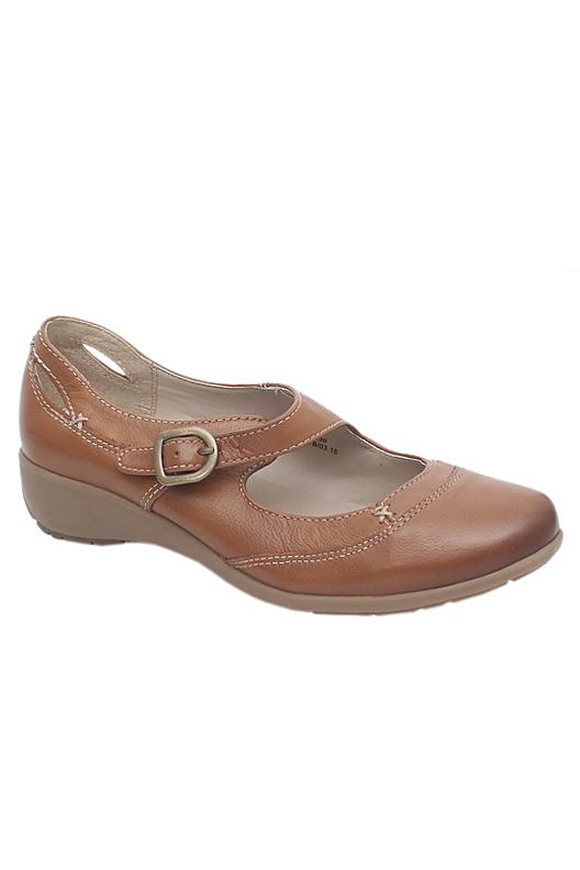 Footglove Tan Brown Ladies Flat Shoe
