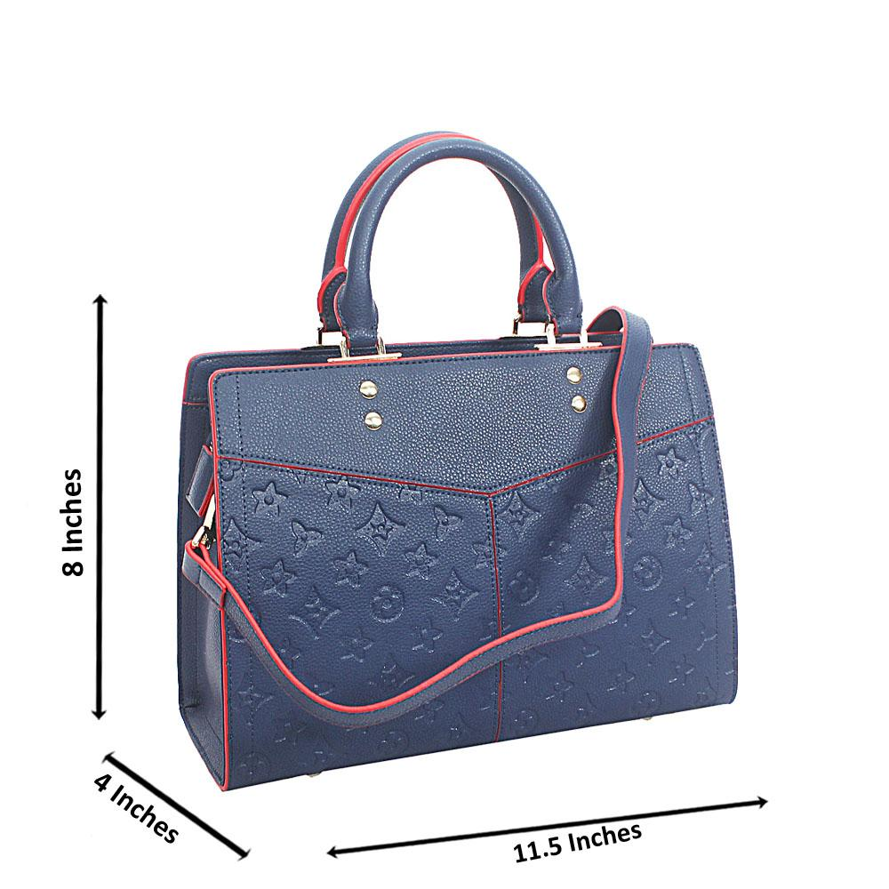 Blue Red Mabel Cowhide Leather Tote Handbag