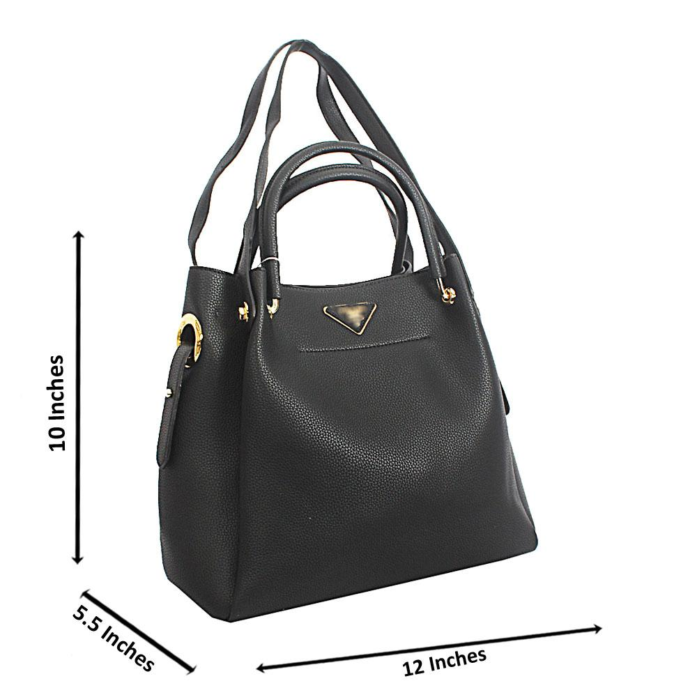 Black Numa Cowhide Leather Tote Handbag
