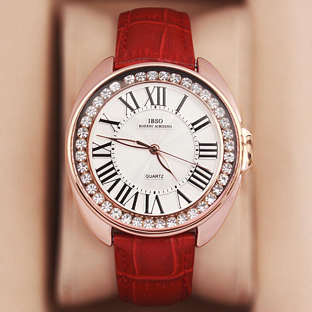 Fellisa Ice Red Leather Ladies Watch