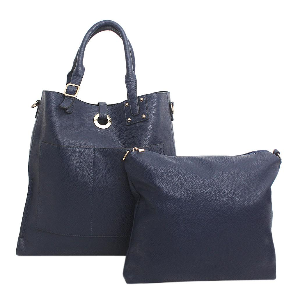 London Style Navy Blue Leather Tote Bag Wt Purse