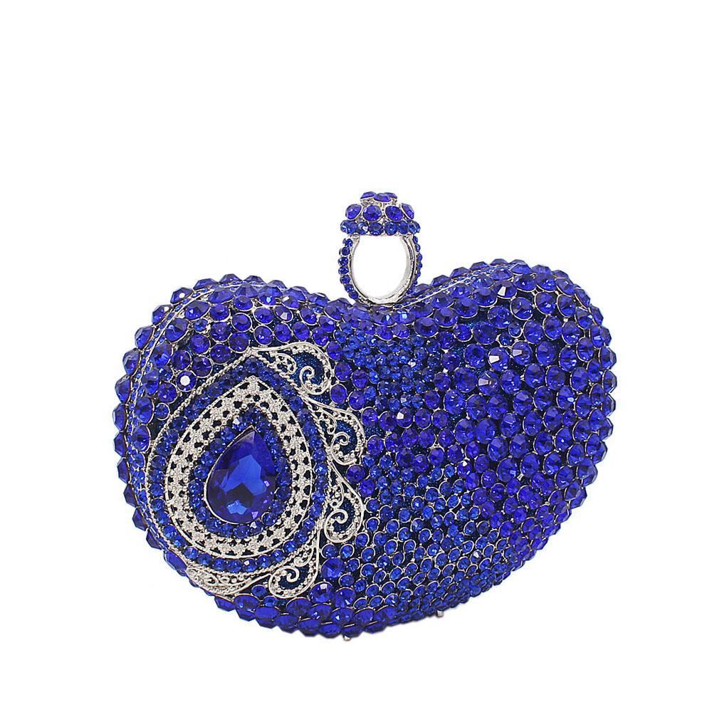 Royal Blue Diamante Crystals Clutch Purse