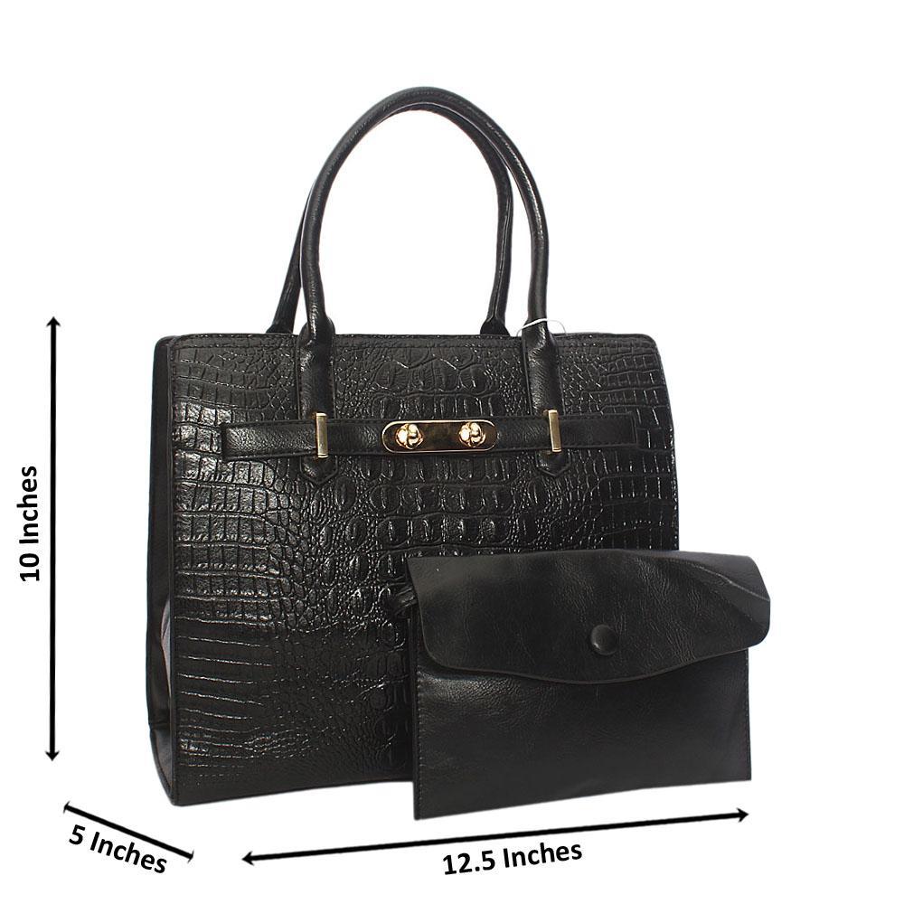 Black Scarlett Croc Leather Tote Handbag