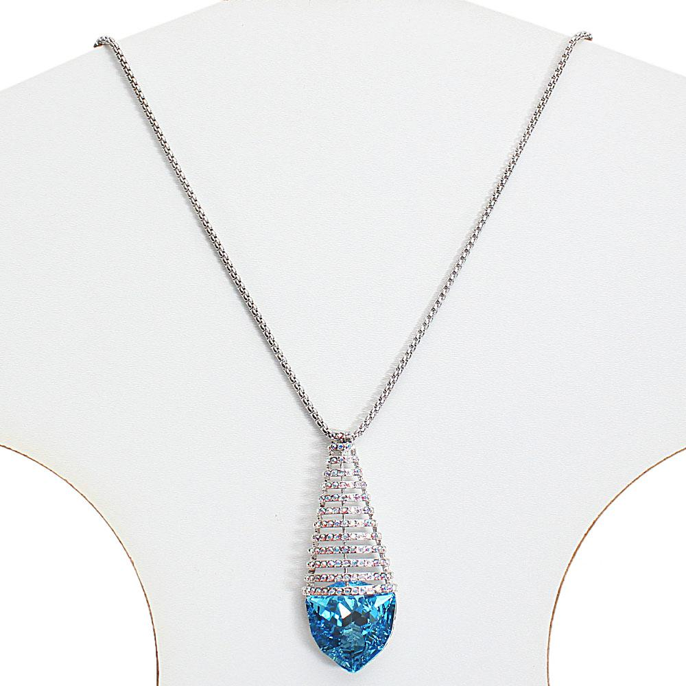 Long Stainless Steel Necklace with Swarovski Element Blue Stone