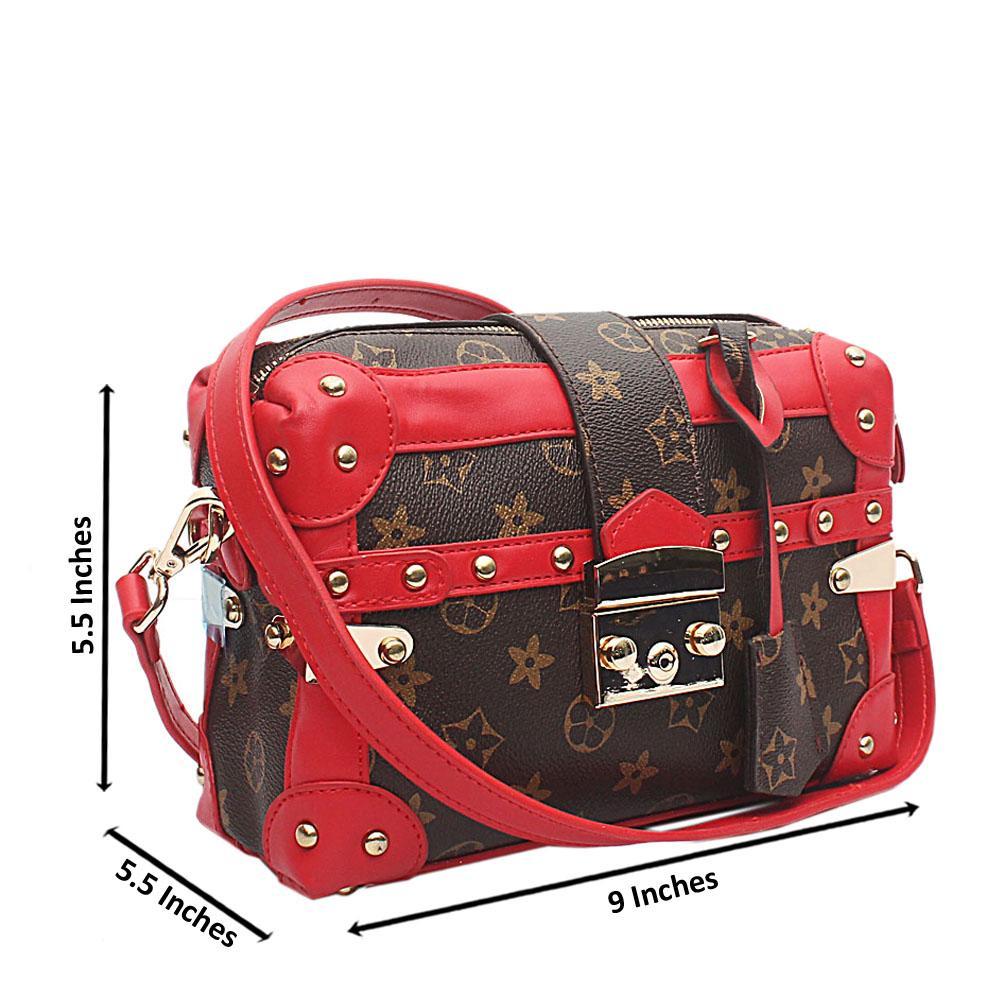 Bento Red Brown Leather Handbag