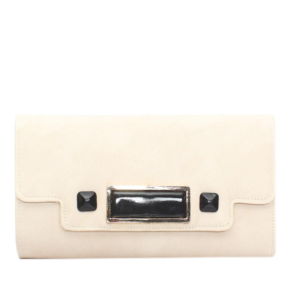 Beige Selene Leather Flat Purse