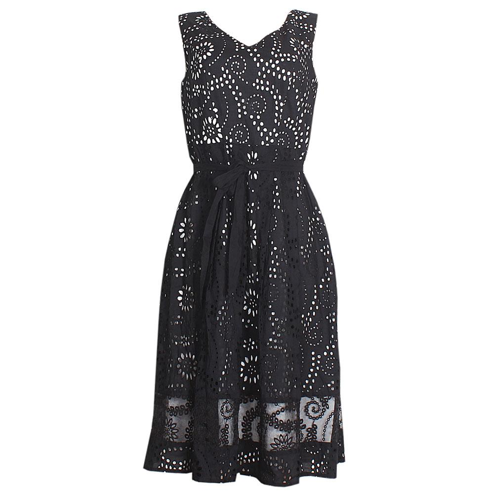 Peruna Black Sleeveless Cotton  Dress UK 14