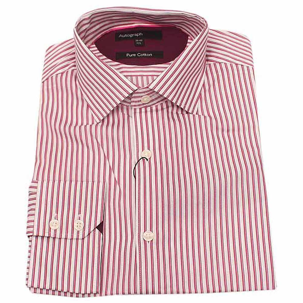 Autograph Red White Stripe L/Sleeve Men Shirt