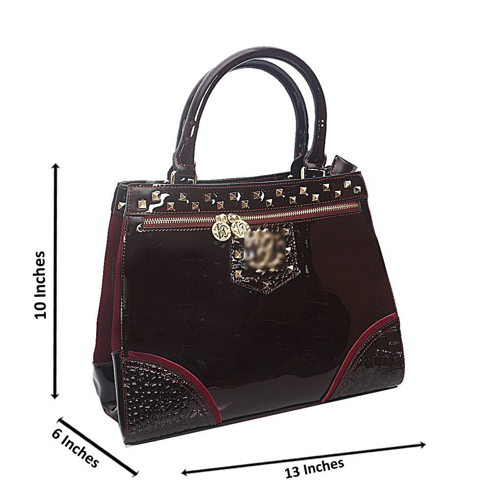 Purple Gold Studded Patent Saffiano Leather Tote Handbag